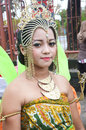 People on carnival tarakan indonesia dec a woman with combined traditional dress in celebration nd tarakan cultural dec in tarakan Royalty Free Stock Image