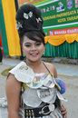 People on carnival tarakan indonesia dec a young girl with costumes from old newspapers in celebration nd tarakan cultural dec in Stock Image