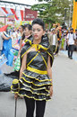 People on carnival tarakan indonesia dec a young girl with costumes from old plastic bags in celebration nd tarakan cultural dec Royalty Free Stock Photo
