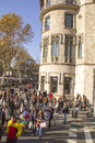 People at catalonia square in dcember in barcelona cata december it is center of touristic life Stock Photo