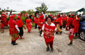 People celebrate arrival of fuifui moimoi on vavau island in tonga Stock Photography