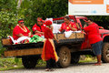 People celebrate arriving of fuifui moimoi on vavau island in tonga Royalty Free Stock Photos