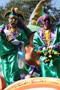 People celebrated crazily in Mardi Gras parade. Stock Image