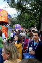People celebrated crazily in Mardi Gras parade. Stock Photos