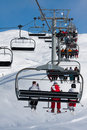 People on a chairlift, ski resort Royalty Free Stock Photography