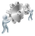 People changing settings illustration of two silver men turning cogs or gears Royalty Free Stock Photography