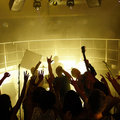 People cheering a rock band at a disco Royalty Free Stock Image