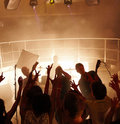People cheering a rock concert Stock Photos