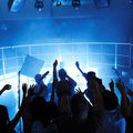 People cheering a rock show in a disco Royalty Free Stock Images