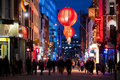 People in chinatown london enjoy the nightlife on december with a large variety of chinese restaurants and souvenir shops the Royalty Free Stock Photography