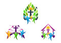 people church christian logo, bible,dove and religious family icon symbol design Royalty Free Stock Photo