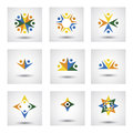 People in circle community or team of kids employees vector ic icons this graphic illustration also represents unity teamwork Stock Images