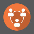 People circle, group of users flat icon. Round colorful button, circular vector sign with long shadow effect. Royalty Free Stock Photo