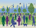 People in a city park vector illustration of everyday walking and biking an urban with generic the background Royalty Free Stock Photo
