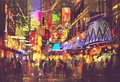 People in city street with illumination and nightlife Royalty Free Stock Photo