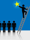People Climb Ladder Rising Star Symbol Stock Image