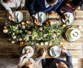 People Cling Wine Glasses on Wedding Reception with Bride and Gr Royalty Free Stock Photo