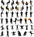 People collection silhouettes Royalty Free Stock Photo