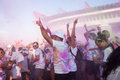 People at the color run event in milan italy september thousands of take part funniest and most colorful urban running ever where Stock Image