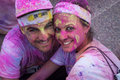 People at the color run event in milan italy september a young couple takes part funniest and most colorful urban running ever Stock Photo