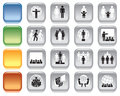 People colorful icons collection of over white background Stock Photos