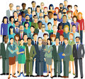 People in a community group colorful illustration of smartly dressed men and women white background Stock Images