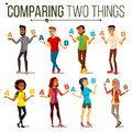 People Comparing A With B Vector. Balance Of Mind And Emotions. Mix Race. Client Choice. Compare Objects, Ways, Ideas