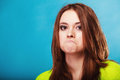 People concept - teenage girl making silly face Royalty Free Stock Photo