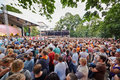 People at concert of Chaif rock-band at outdoor Royalty Free Stock Photo