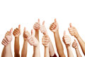 People congratulate and holding thumbs up many a winner their Stock Image