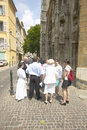 People congregating outside cathedral of st sauveur aix en provence france Royalty Free Stock Photography