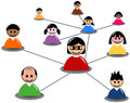 People connect in social media network or business illustration featuring interracial men and women minimalistic avatars connected Royalty Free Stock Photos