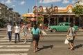 People crossing pedestrian crosswalk Vedado Havana Royalty Free Stock Photo