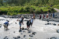 People crossing river at island new guinea papua province indonesia dec valley baliem indonesia on december Stock Images