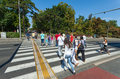 People crossing road belgrade serbia aug to go to kalemegdan park on august in belgrade serbia the park is the largest and the Stock Photography