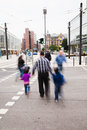 People crossing the street in the city motion blur of frankfurt am main germany Stock Photography
