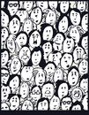 People crowd cartoon characters illustration Stock Images