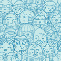 People in a crowd seamless pattern background with hand drawn elements Royalty Free Stock Images