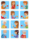 People with cup in his hand drinking hot coffee. Vector illustration icon