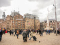 People on the dam square in amsterdam netherlands february Stock Images