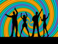 People dancing means disco music and dance showing silhouette Royalty Free Stock Photography