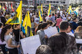 People demonstrate against murder and violation of kurdish peopl frankfurt germany august killing by is soldiers in frankfurt Royalty Free Stock Photography