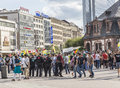 People demonstrate against murder and violation of kurdish peopl frankfurt germany august killing by is soldiers in frankfurt Stock Image