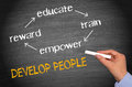 People development hand of a person writing a diagram on a blackboard human resources and training concept Royalty Free Stock Photos