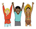People of different Nations hold hands. Concept on the theme of friendship of peoples. Vector illustration.