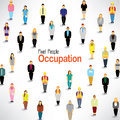 People with different occupation gather together a big group of design Stock Photos