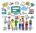 People digital device global communications social media concept Stock Photography