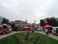 People dine at Food Truck in Civic Center Royalty Free Stock Photo