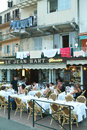 People dining on a restaurant at the citadel of bastia on corsi corsica france july corsica france Royalty Free Stock Images