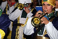 People disguised 20.- Brass band Royalty Free Stock Photo
